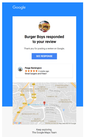Consumers will now be notified of business review responses for Google Reviews