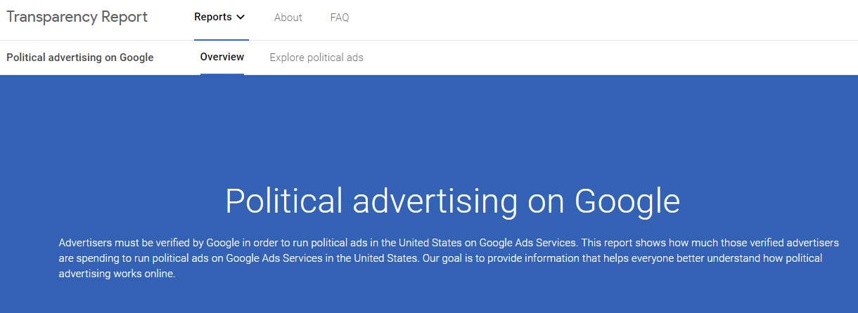 Google's new website to offer more transparency on its political advertisers