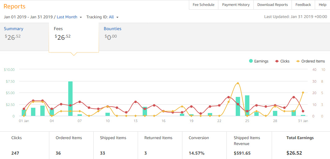 Amazon Affiliate Earnings - January