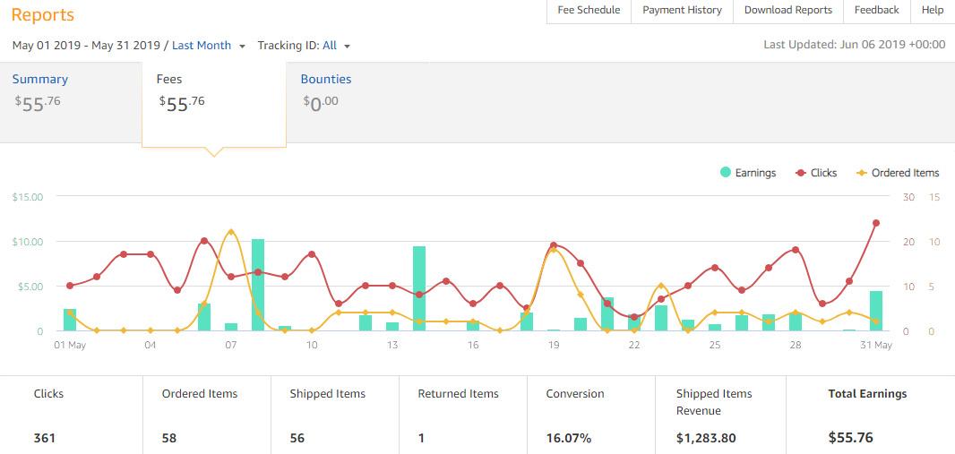 Amazon Affiliate Earnings - May
